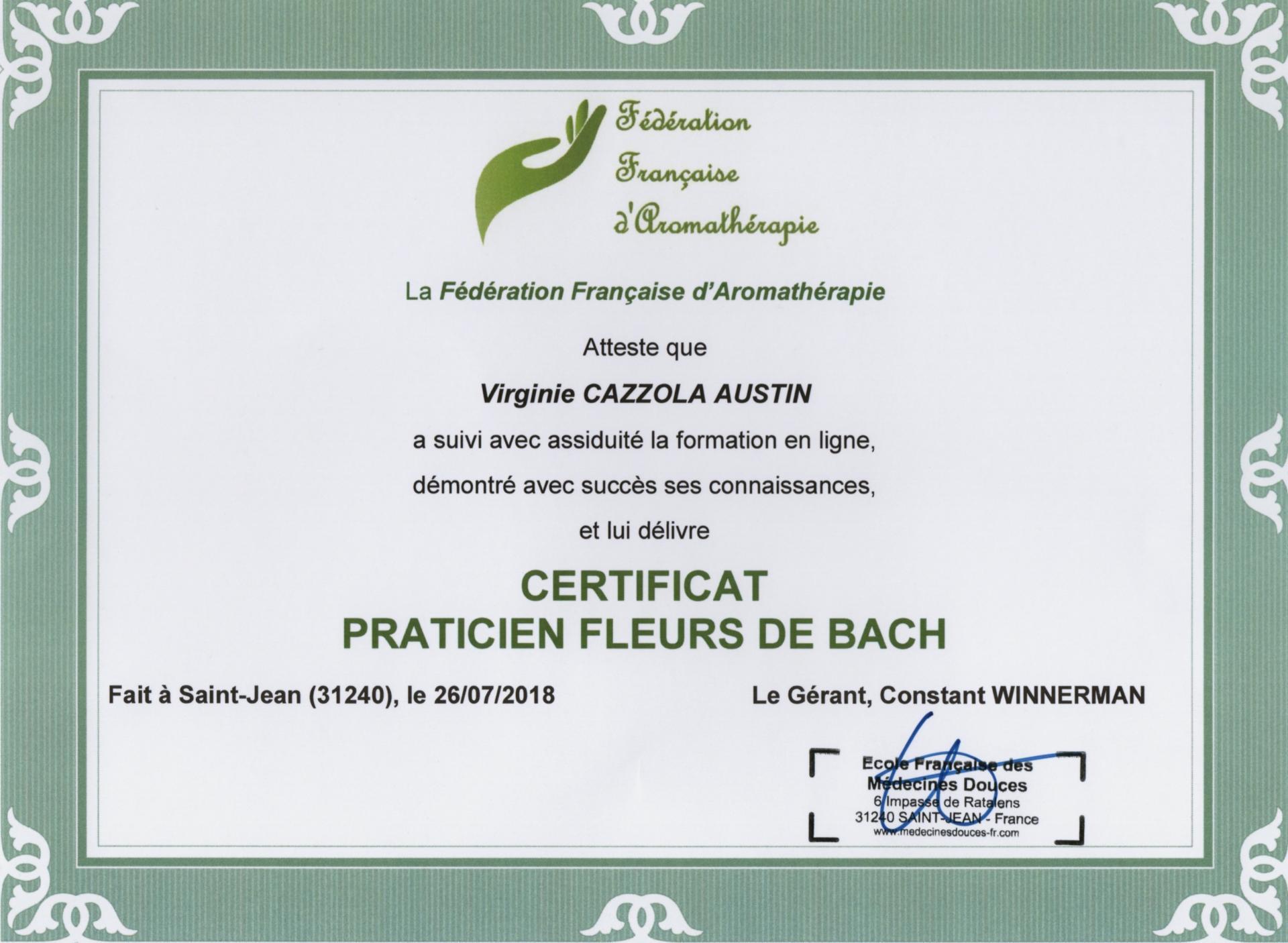 Certificat PRATICIEN FLEURS DE BACH